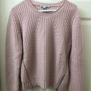 Autumn Cashmere light pink zip sweater